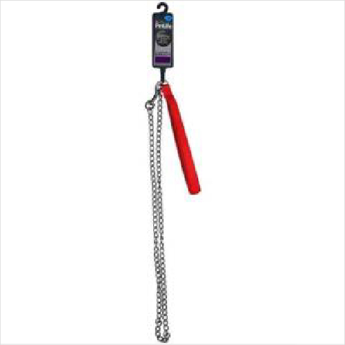 Pl Padded Chain Lead Red 120cm