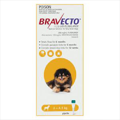 Bravecto Very Small Dog 2-4.5kg Yellow