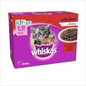 Whiskas Fav Kitten Beef 12x85gm